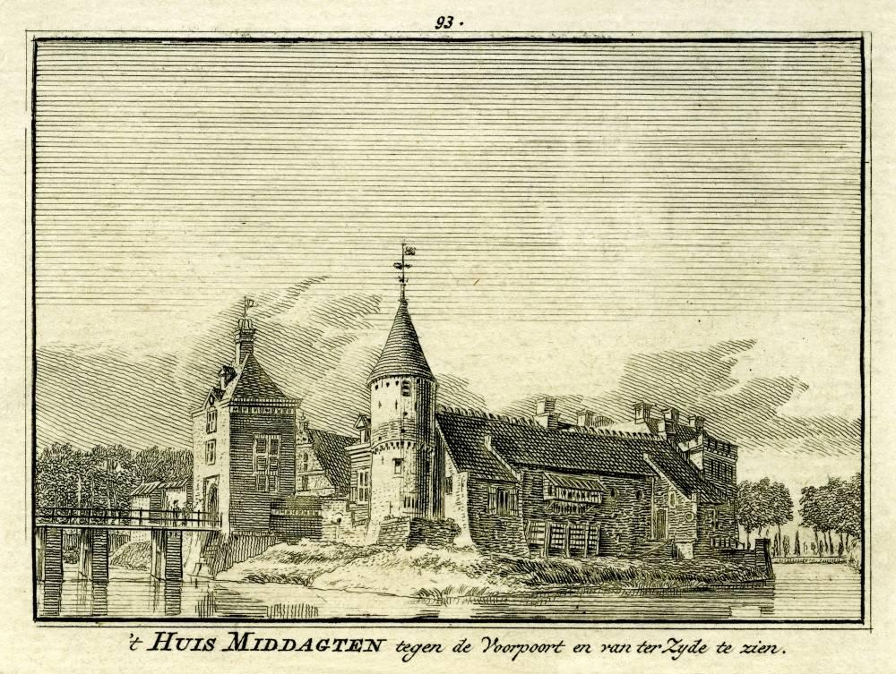 Kasteel Middachten in De Steeg. Tekening Jan de Beijer, gravure Hendrik Spilman (Uit: Het Verheerlykt Nederland, Isaac Tirion, 1745/1774)